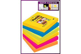 Haftnotizen Post-it Super Sticky 76x76mm sortiert, Art.-Nr. 654-6SS-RIO - Paterno B2B-Shop