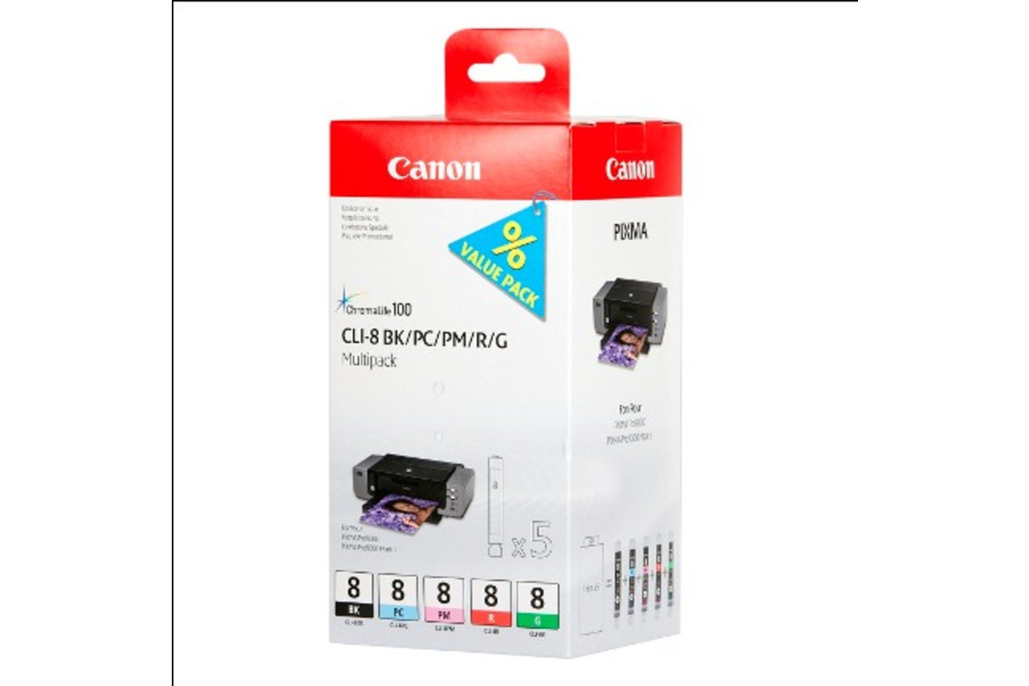 Canon CLI8 Multi Pack BK/PC/PM/R/G je 13ml 1x5, Art.-Nr. 0620B027 - Paterno B2B-Shop