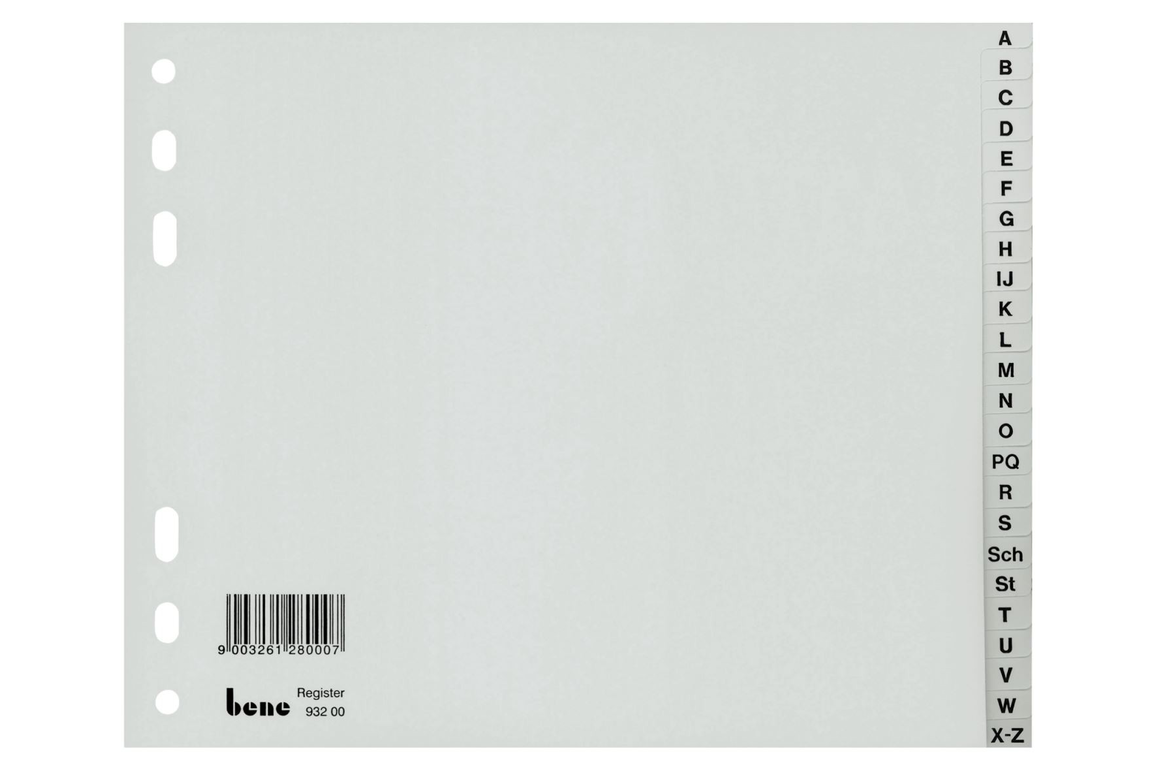 Register Bene A-Z 24-teilig grau, Art.-Nr. 093200 - Paterno B2B-Shop