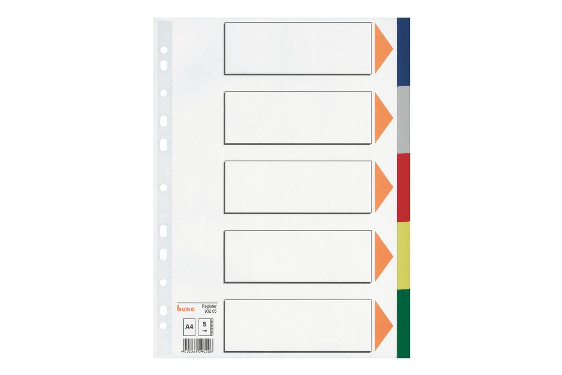 Farbregister Bene A4 blanko farbig 5-teilig, Art.-Nr. 093205 - Paterno B2B-Shop