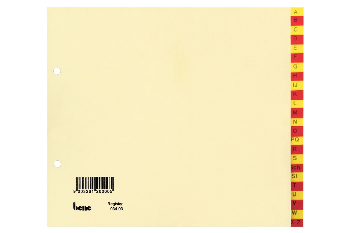 Register Bene A-Z 24-teilig rot - gelb, Art.-Nr. 093403 - Paterno B2B-Shop