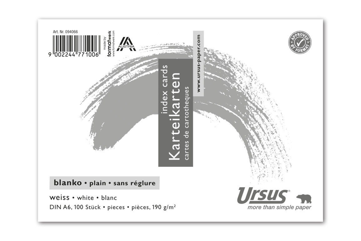 Karteikarten Ursus A6 quer glatt weiss, Art.-Nr. 094066 - Paterno B2B-Shop