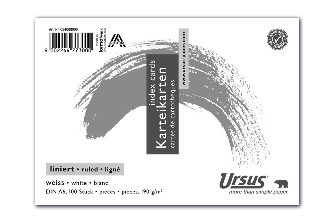 Karteikarten liniert weiss A6 quer 100 Blatt 190g/qm, Art.-Nr. 094068000 - Paterno B2B-Shop