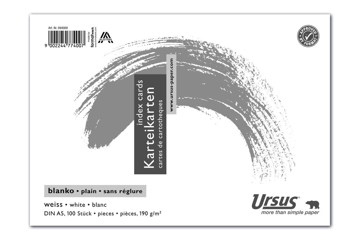 Karteikarte blanko weiss A5 quer 100 Blatt 190g/qm, Art.-Nr. 094069 - Paterno B2B-Shop