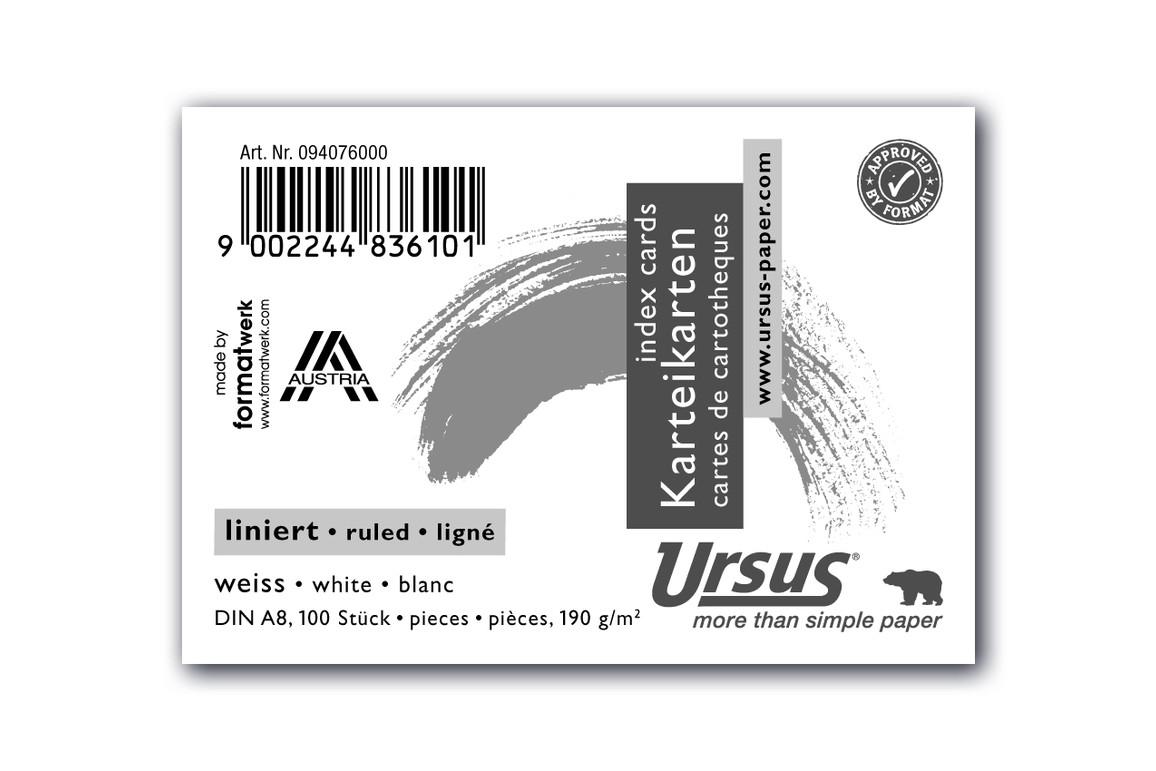 Karteikarten Ursus A8 quer liniert weiss, Art.-Nr. 094076000 - Paterno B2B-Shop