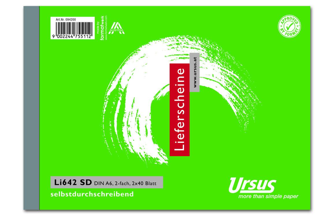 Lieferscheinbuch LI642SD A6 quer 2x40 Blatt, Art.-Nr. 094200 - Paterno B2B-Shop