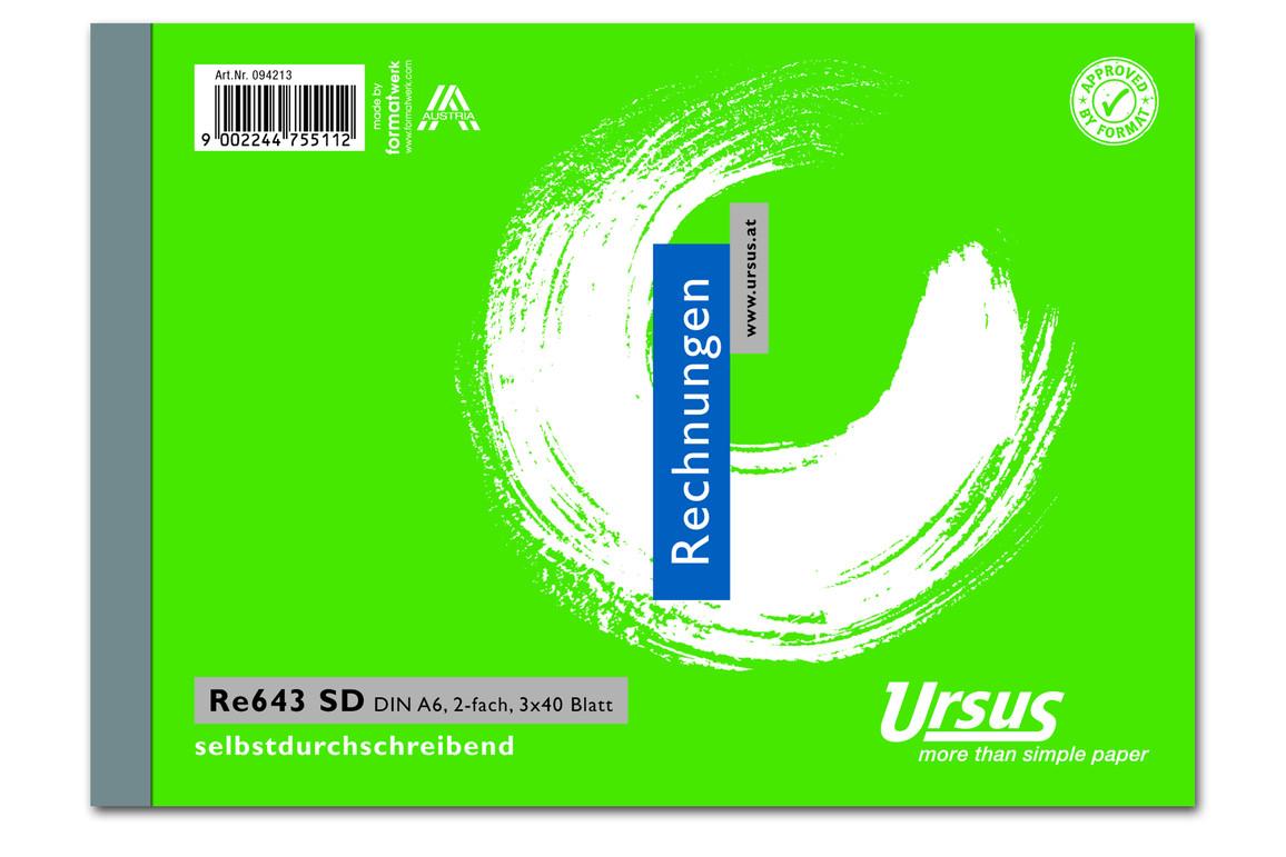 Rechnungsbuch RE643SD A6 quer 3x40 Blatt, Art.-Nr. 094213 - Paterno B2B-Shop