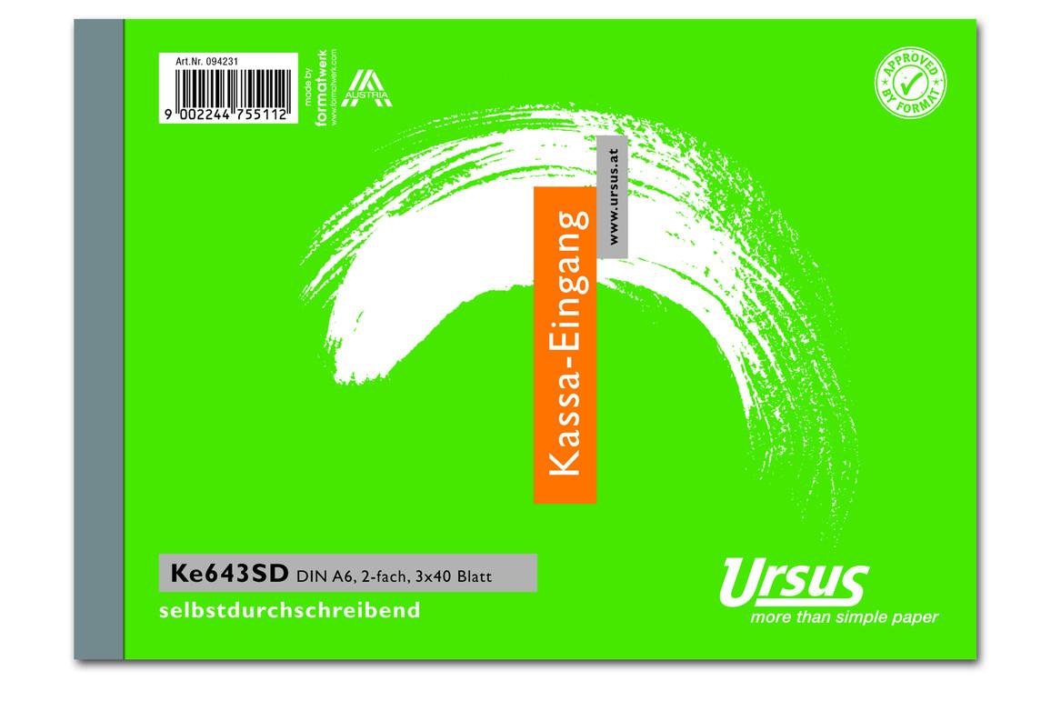 Kassaeingangsbuch KE643SD A6 quer 3x40 Blatt, Art.-Nr. 094231 - Paterno B2B-Shop