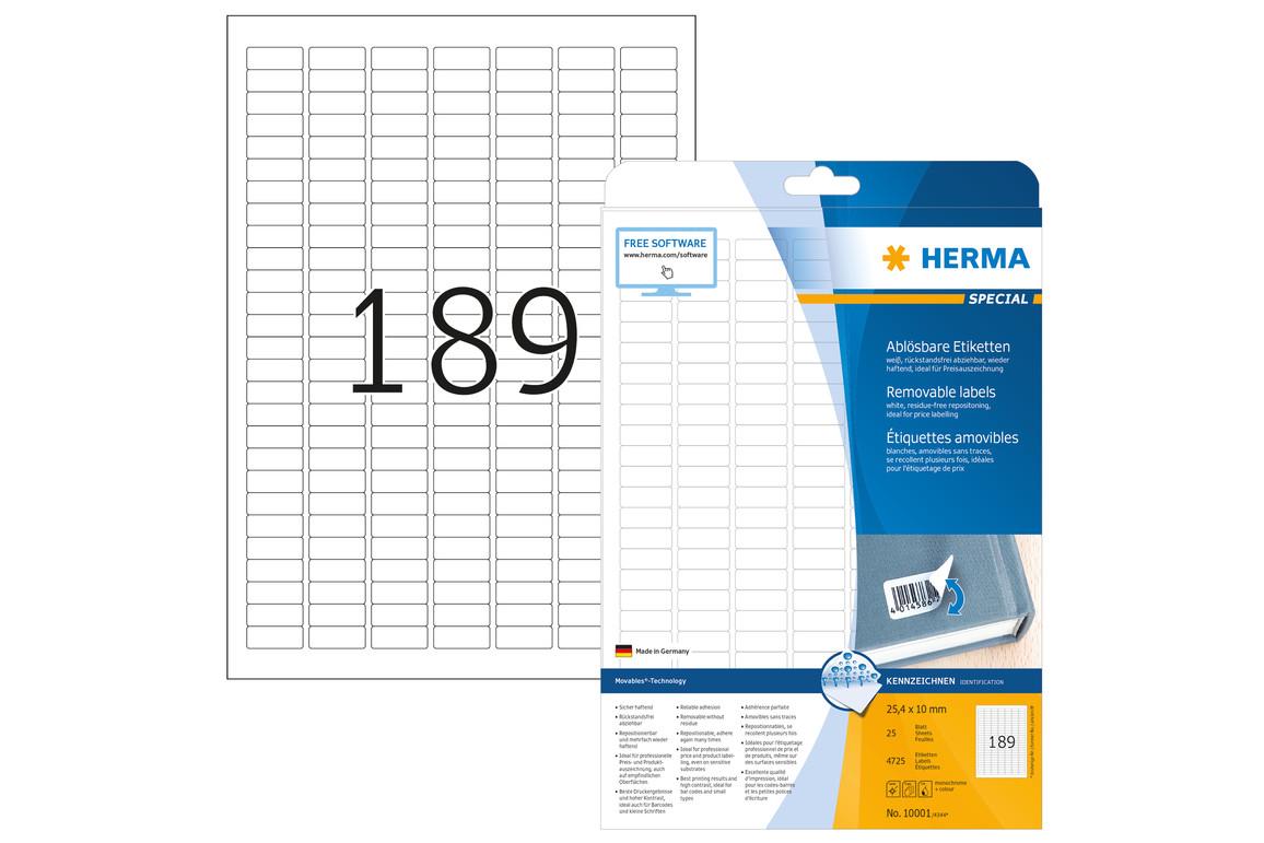 Etiketten Herma A4 weiss ablösbar, wieder haftend, Art.-Nr. 10001E - Paterno B2B-Shop