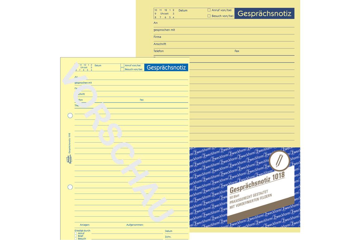 Gesprächsnotizblock ZWF DIN A5, Art.-Nr. 1018ZWF - Paterno B2B-Shop