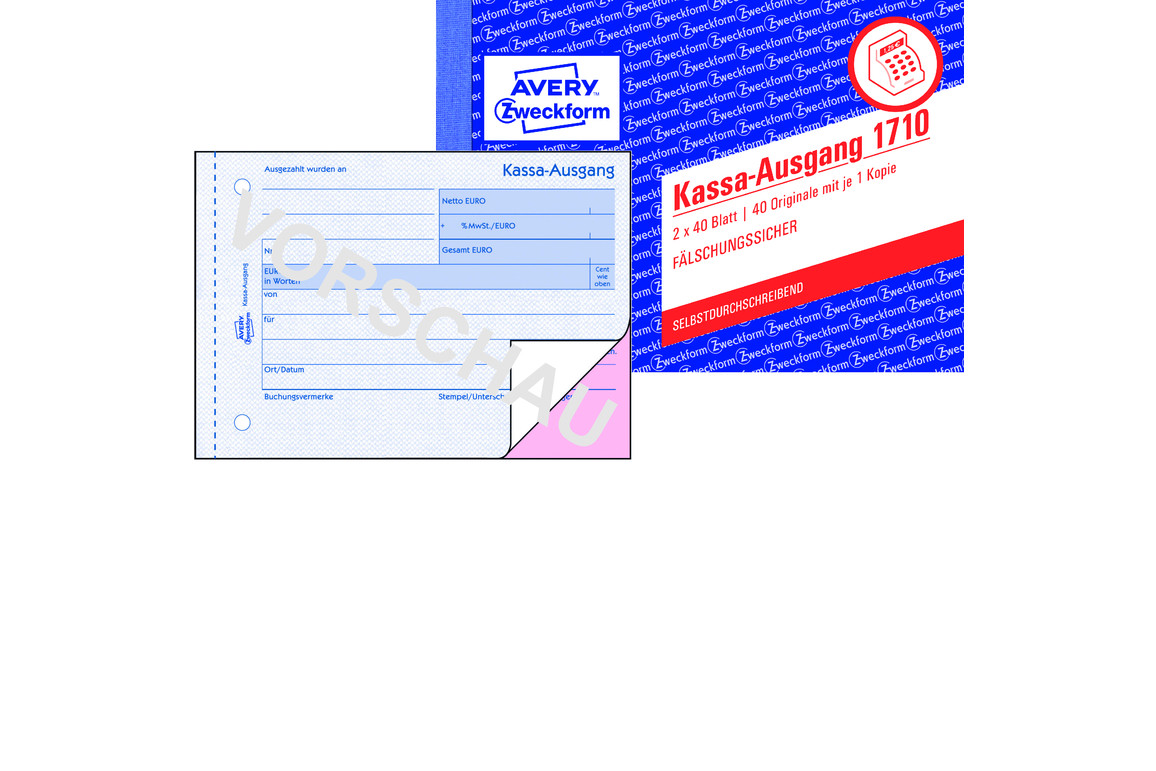 Kassaausgangsbuch ZWF , DIN A6 quer, Art.-Nr. 1710ZWF - Paterno B2B-Shop
