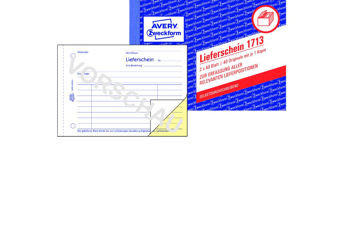 Lieferscheinbuch ZWF A6 2x40Bl, Art.-Nr. 1713ZWF - Paterno B2B-Shop