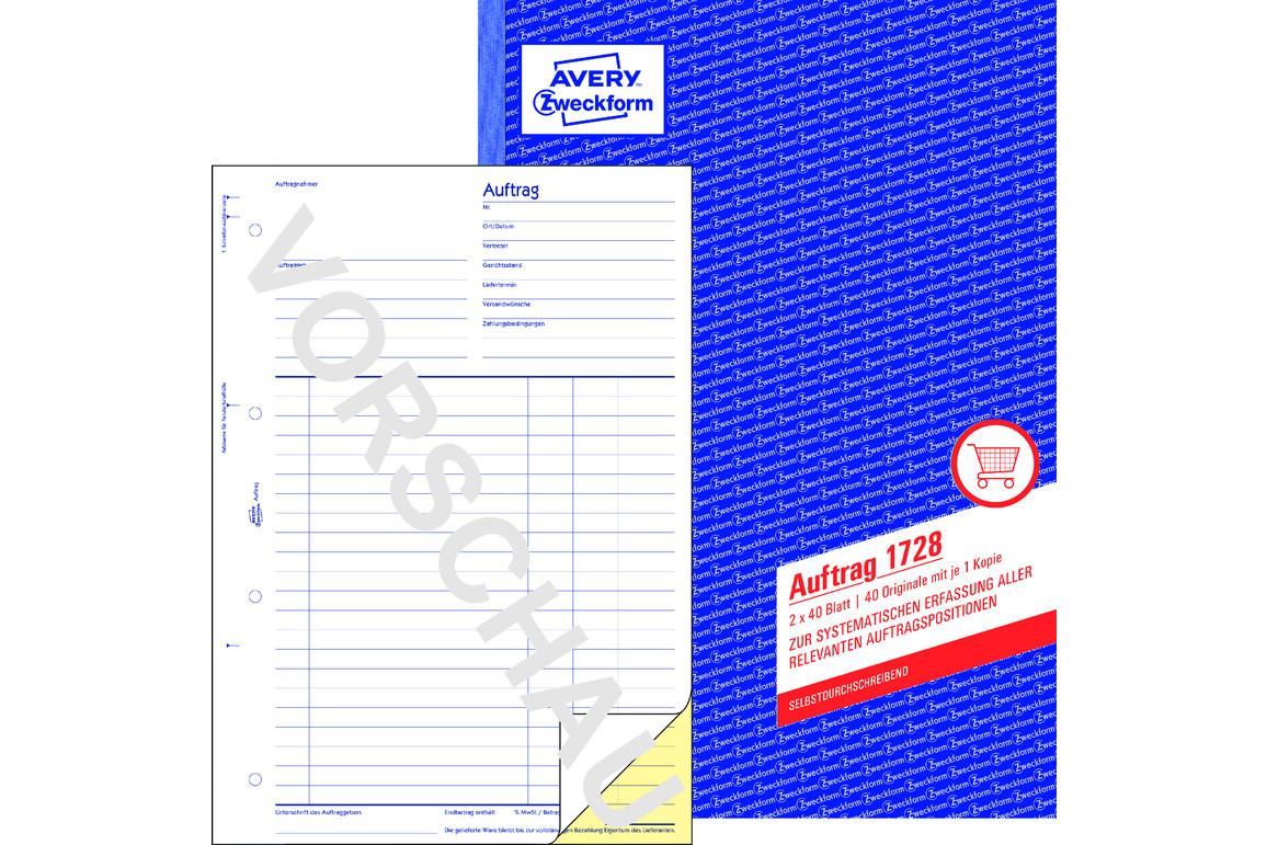 Auftragsbuch A4 2x40 Blt., Art.-Nr. 1728ZWF - Paterno B2B-Shop