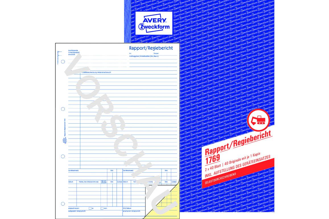 Rapport und Regiebericht ZWF, A4 SD, Art.-Nr. 1769ZWF - Paterno B2B-Shop