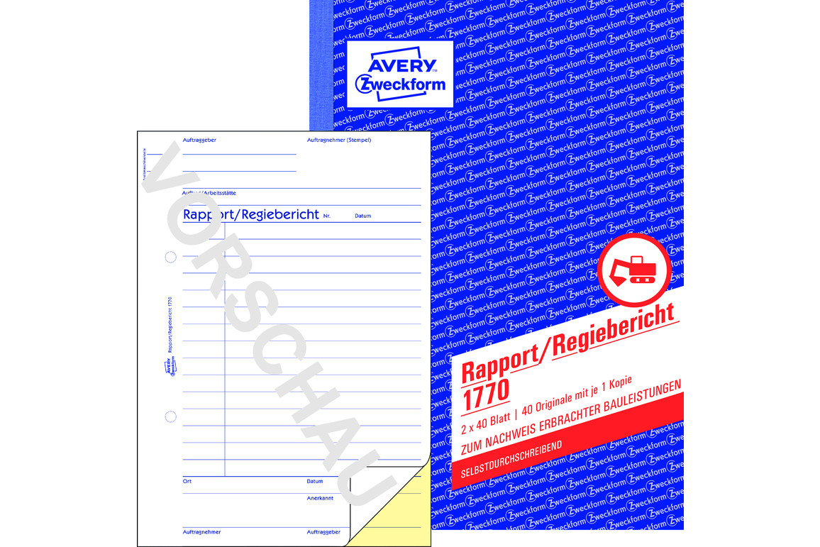 Rapport und Regiebericht ZWF,  A5 SD, Art.-Nr. 1770ZWF - Paterno B2B-Shop