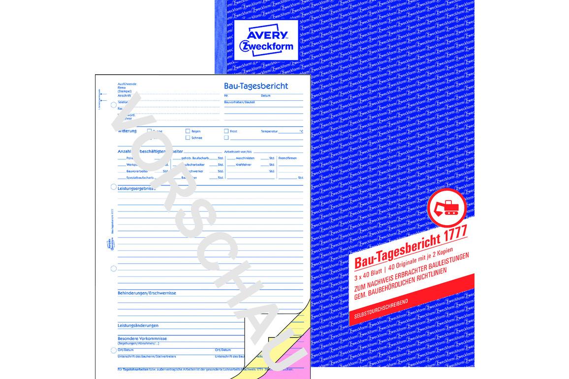Bautagesbericht ZWF, DIN A4 hoch, Art.-Nr. 1777ZWF - Paterno B2B-Shop