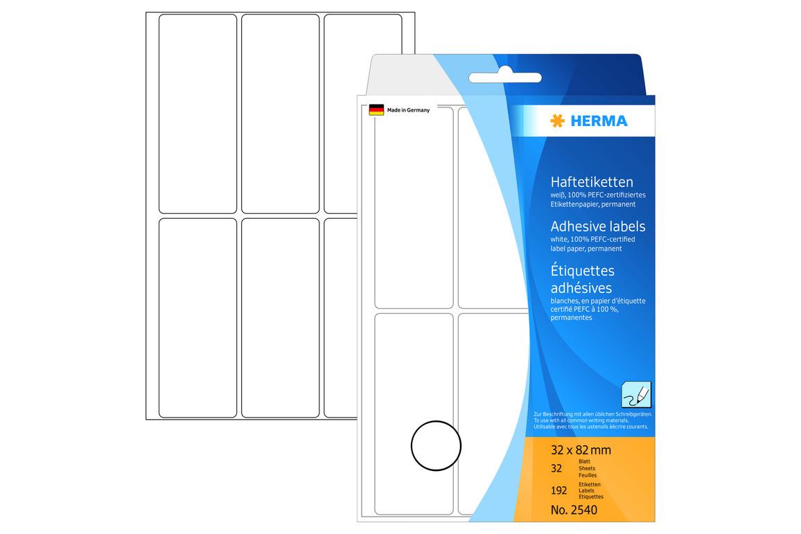 Etiketten Herma weiss 32 x 82 mm, Art.-Nr. 2540E - Paterno B2B-Shop