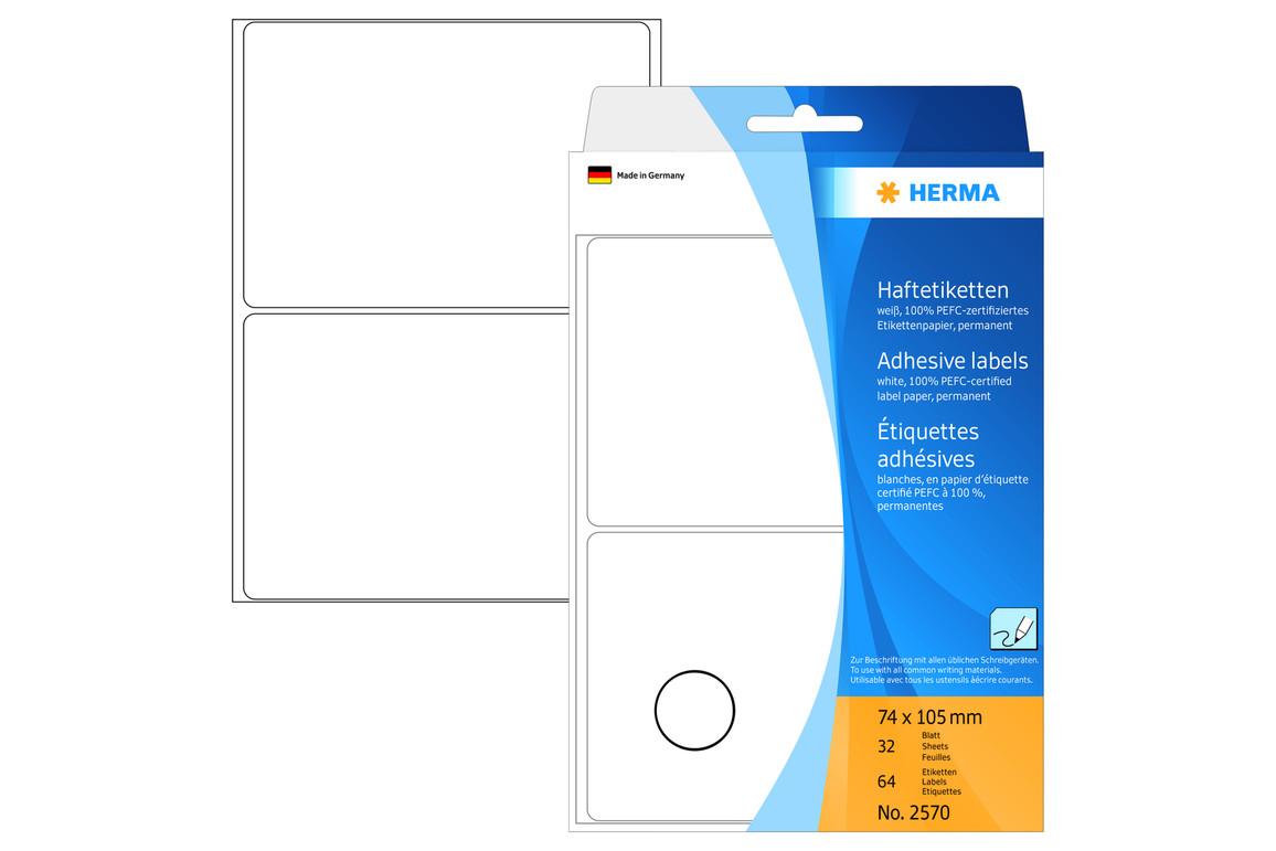 Etiketten Herma 74 x 105 mm weiss, Art.-Nr. 2570E - Paterno B2B-Shop