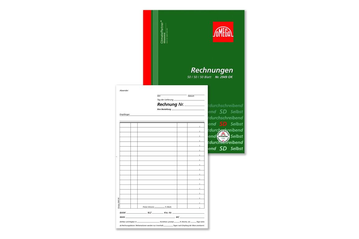 Rechnungsbuch Omega A5 hoch 3x50 Blatt, Art.-Nr. 2949OK - Paterno B2B-Shop