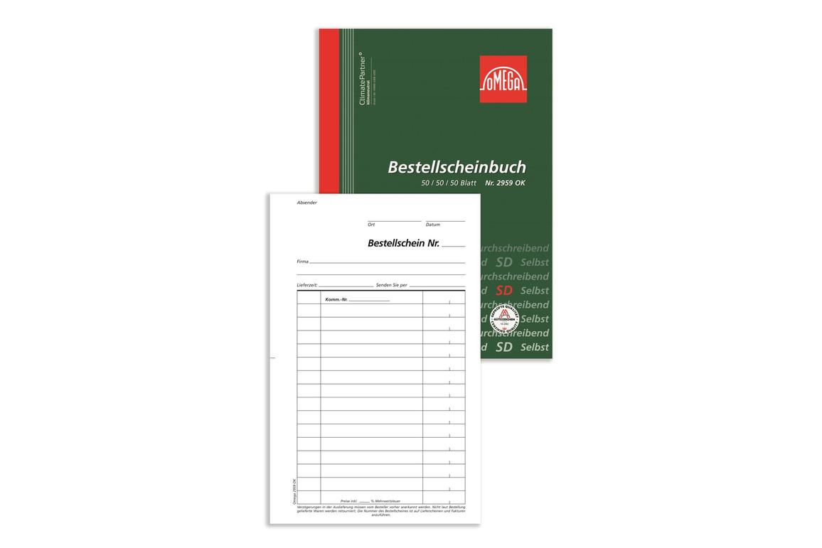 Bestellscheinbuch Omega A5 hoch 3x50 Blatt, Art.-Nr. 2959OK - Paterno B2B-Shop