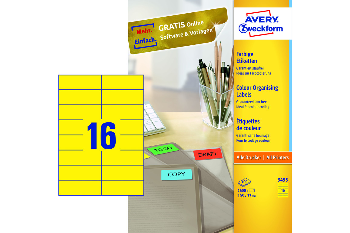 Kopieretiketten ZWF 105 x 37 mm, gelb, Art.-Nr. 3455ZWF - Paterno B2B-Shop