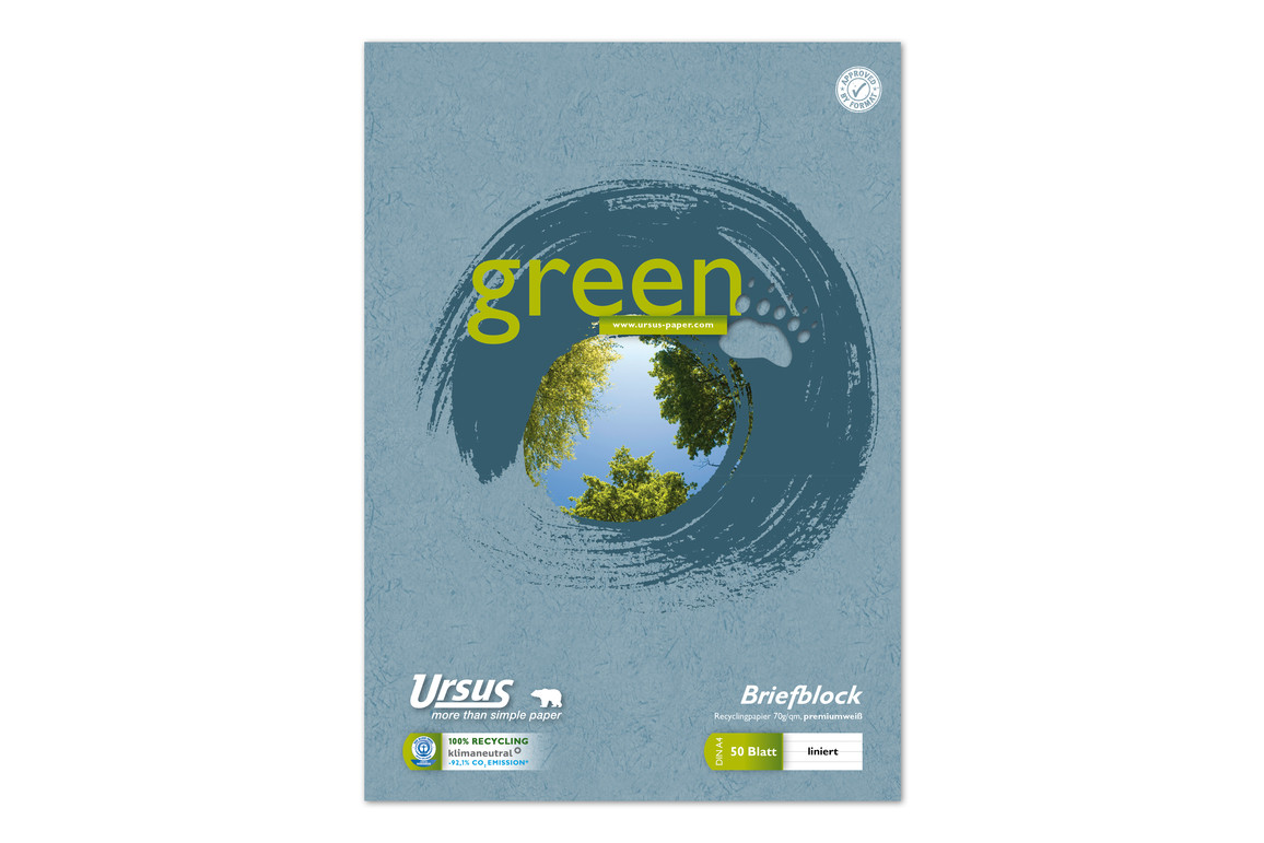 Notizblock A4 50 Bl. Ursus Green 70 gr. liniert, Art.-Nr. 6085850-10 - Paterno B2B-Shop