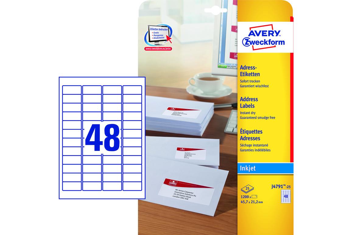 Adressetiketten ZWF 45,7 x 21,2  mm weiß, Art.-Nr. J4791-25 - Paterno B2B-Shop