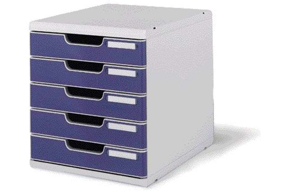 Schubladenbox Modulo Exacompta  A4, 5 Laden lichtgrau-blau, Art.-Nr. 0301-BL - Paterno B2B-Shop