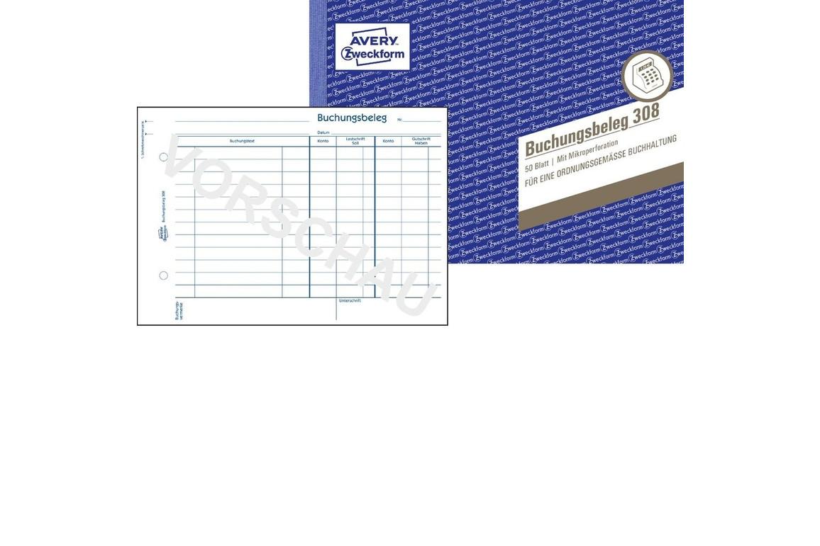 Buchungsbelege-Buch A5 quer, weiß, Art.-Nr. 308ZWF - Paterno B2B-Shop