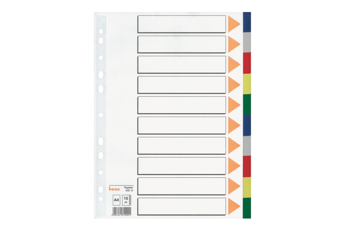 Farbregister Bene A4 blanko farbig 10-teilig, Art.-Nr. 093210 - Paterno B2B-Shop