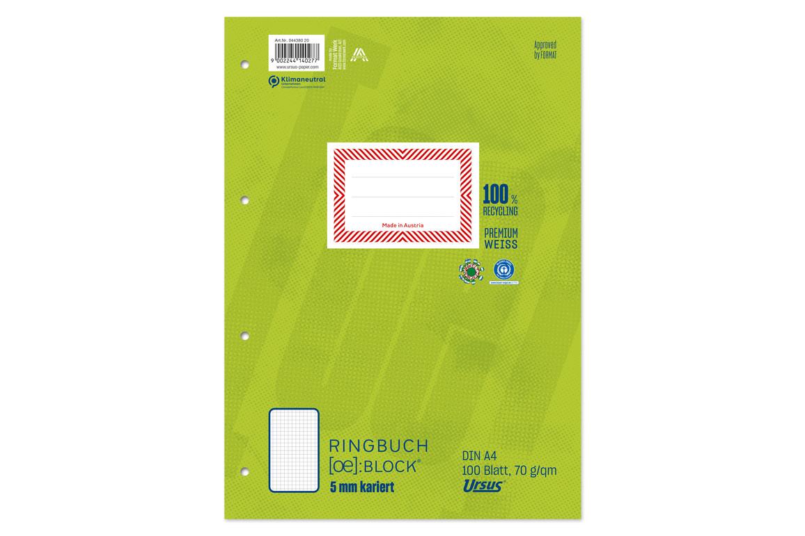 Ringbuchblock Ursus Green A4 100 Blatt 9mm liniert, Art.-Nr. 044380-10 - Paterno B2B-Shop